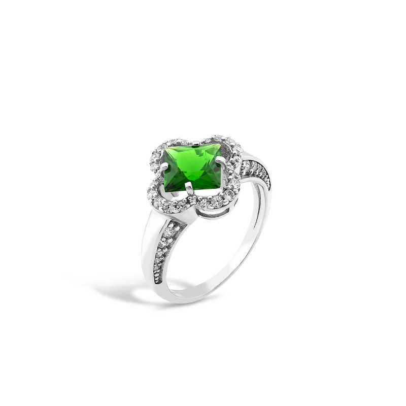 Кольцо с темно-зеленым альпинитом 440