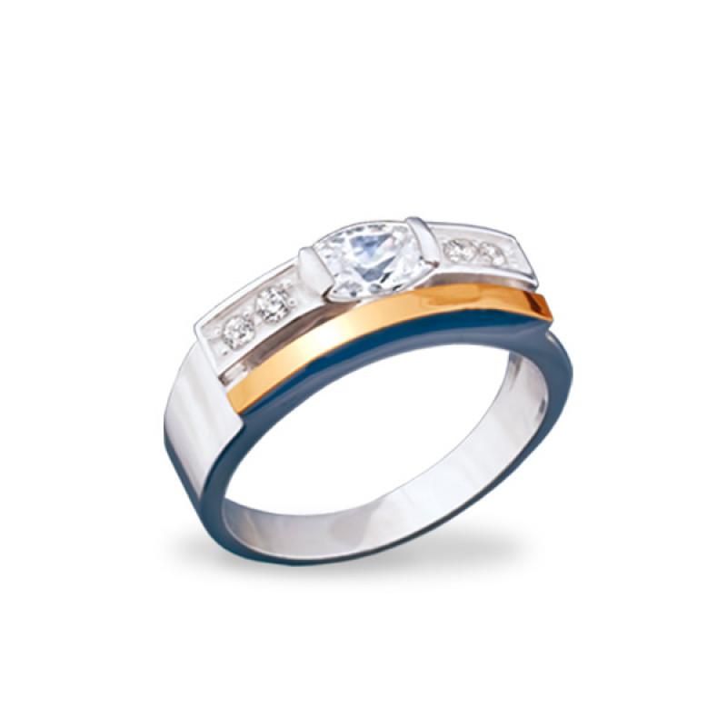 Кольцо с белым фианитом 061