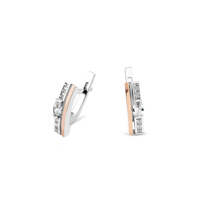 Серьги с белым фианитом 061