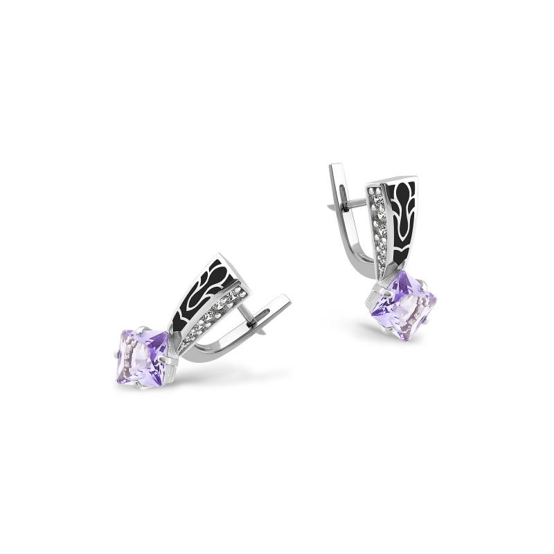 Серьги с фиолетовым фианитом 427