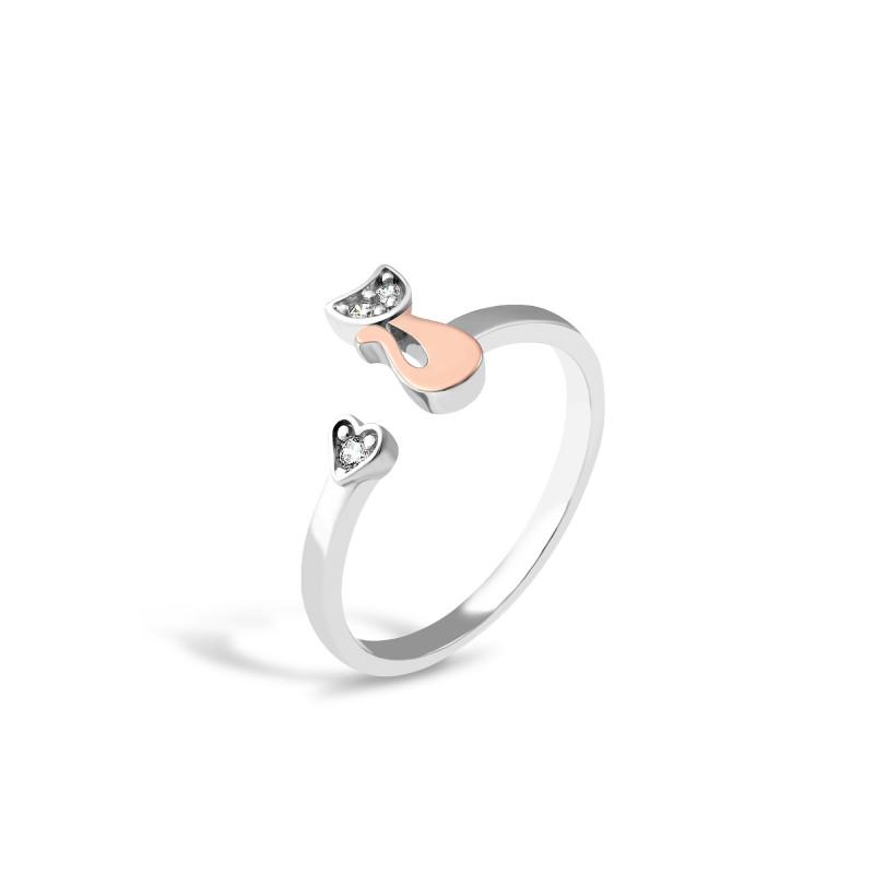 Серебряное кольцо  Котики 644