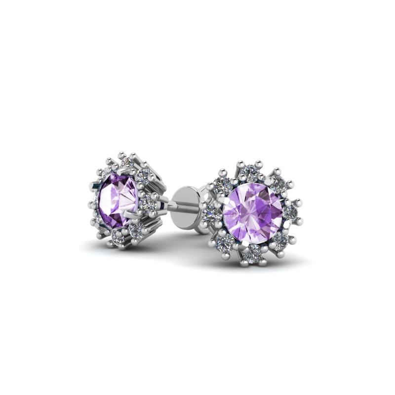 Серьги с фиолетовым фианитом 431