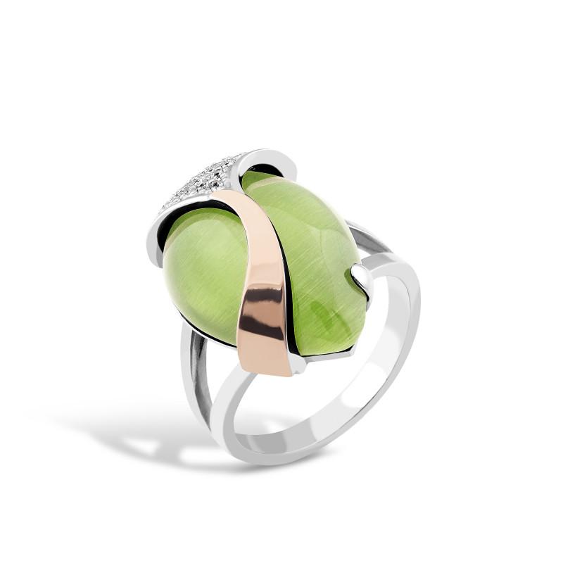 Кольцо с хризопразом 523