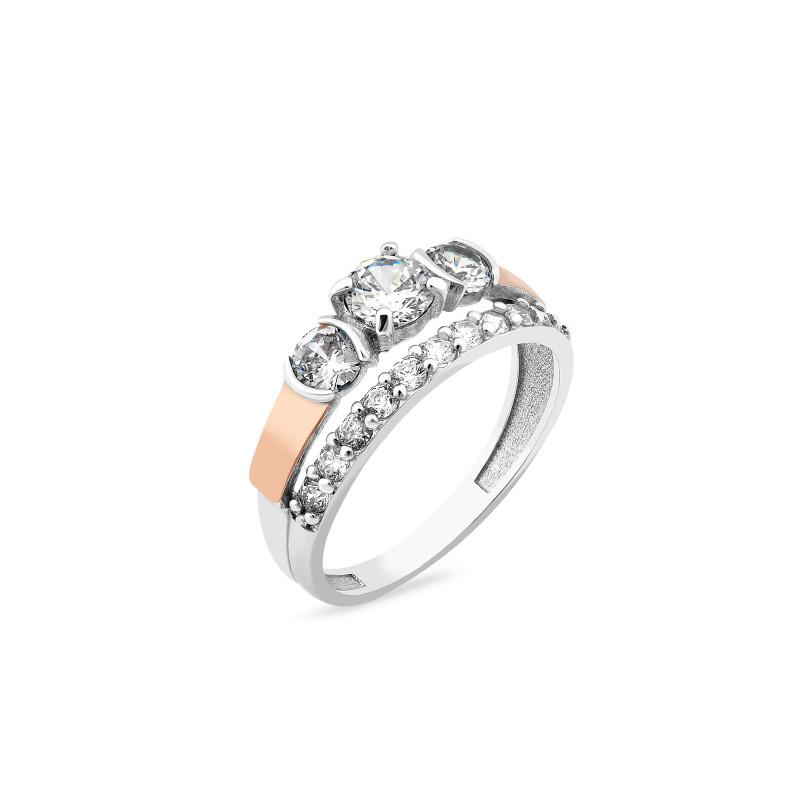 Кольцо с белым фианитом 225
