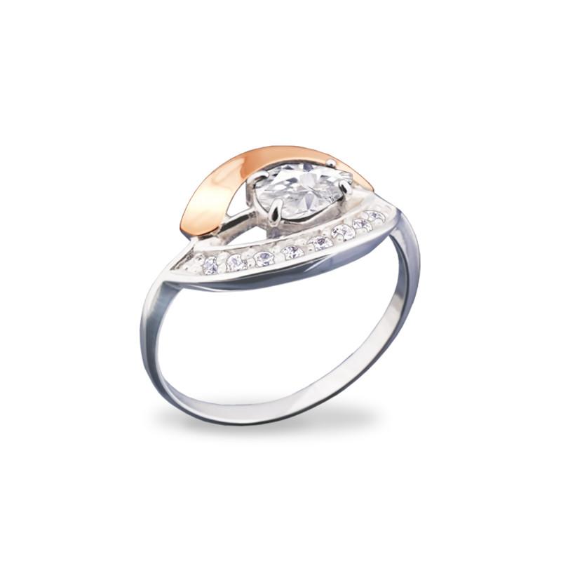 Кольцо с белым фианитом 072