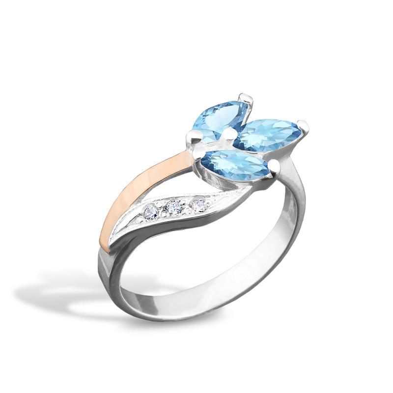 Кольцо с голубым альпинитом 001