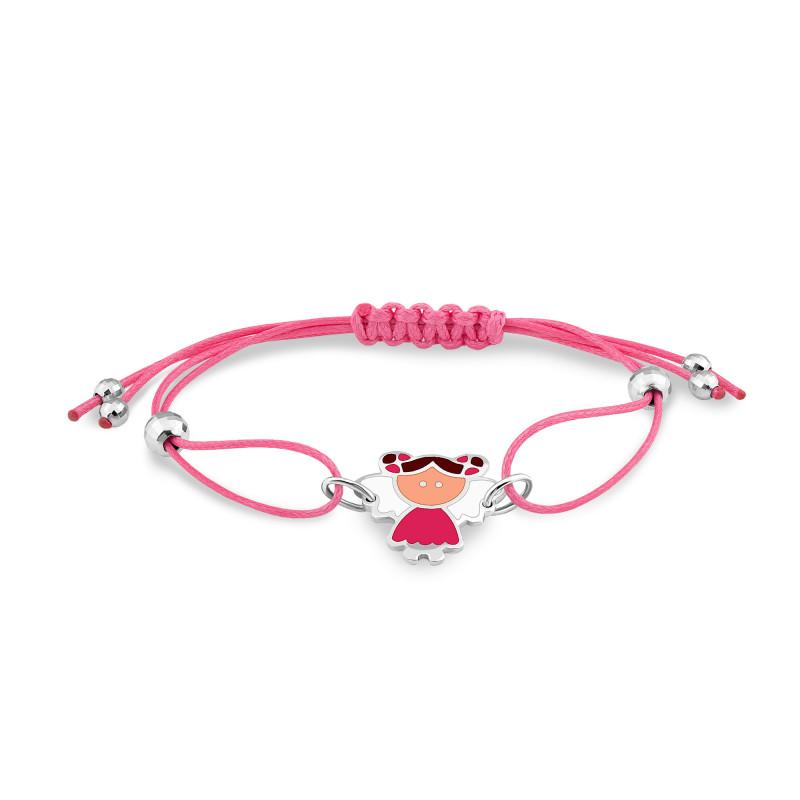 Браслет с розовым шнуром 566