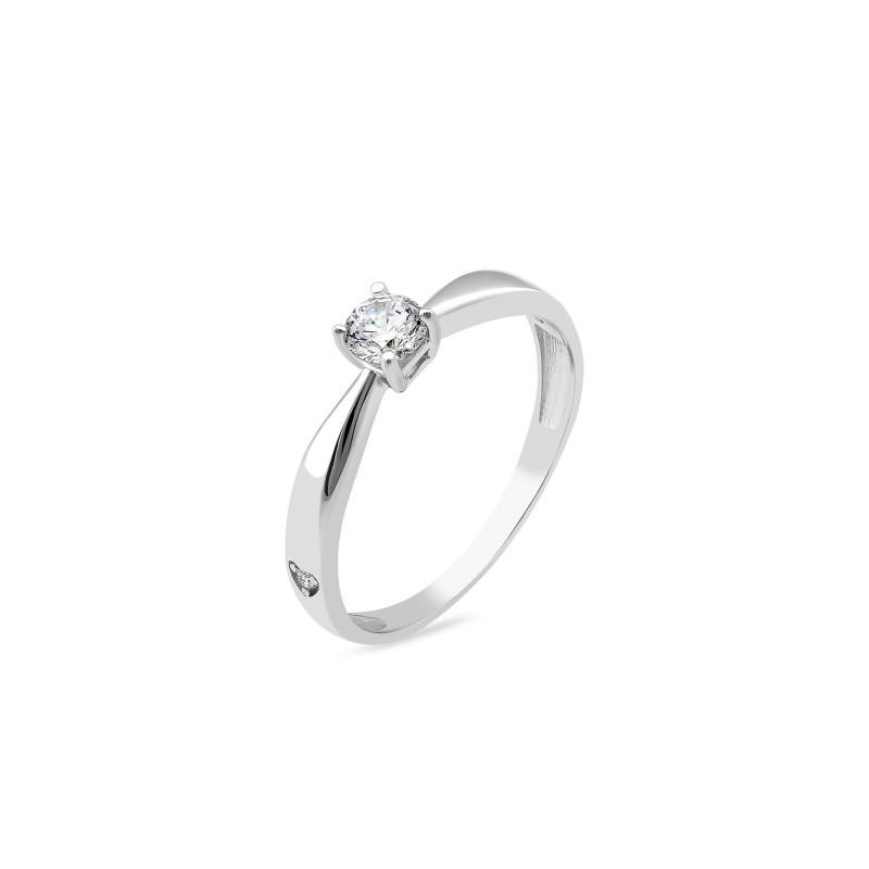Кольцо с белым фианитом 1182