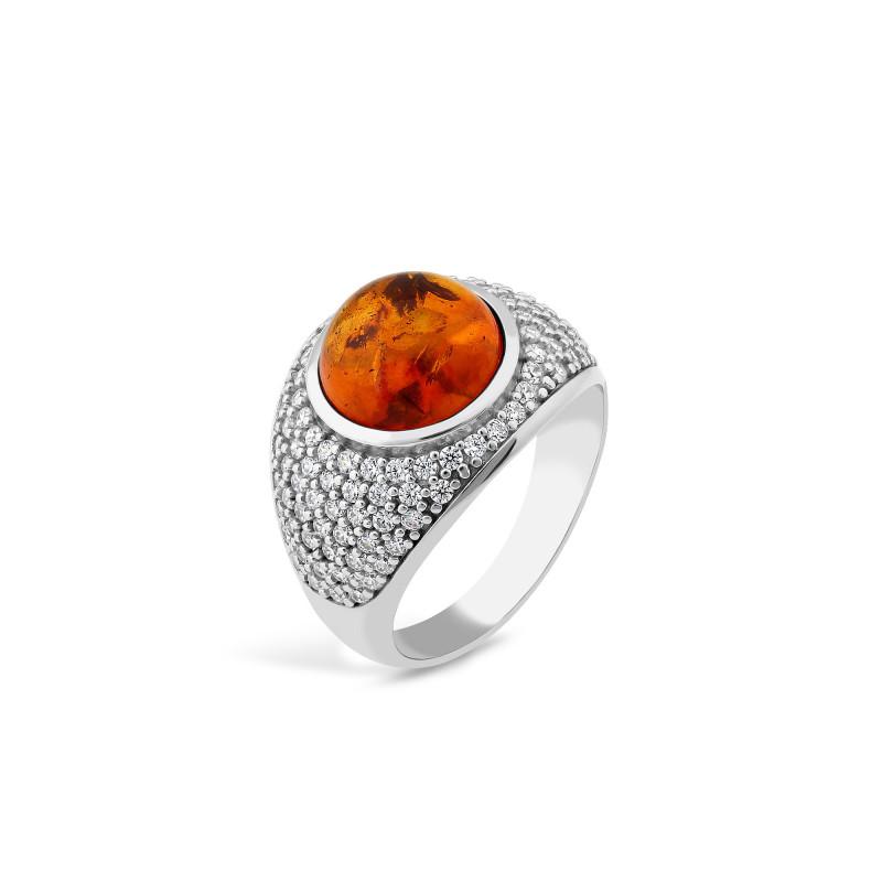 Кольцо с янтарем 876