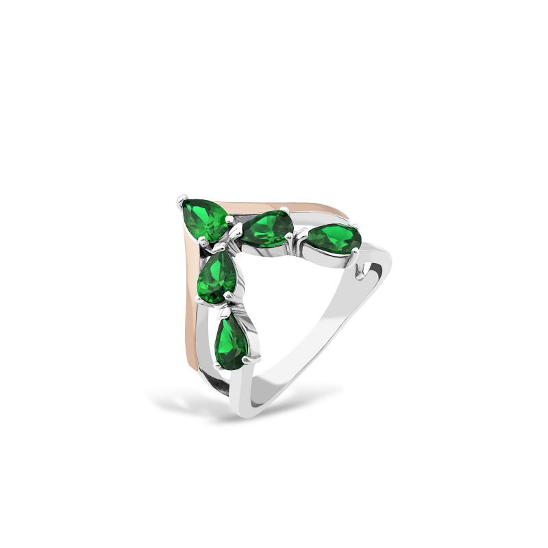 Кольцо с темно-зеленым альпинитом 703