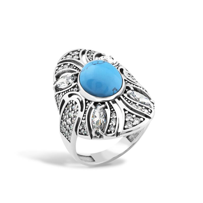 Кольцо с бирюзой 446