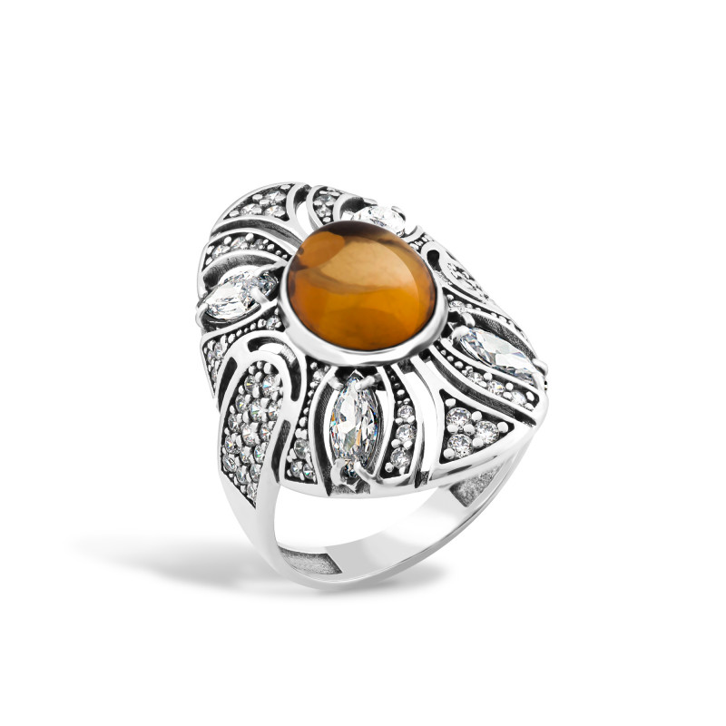 Кольцо с янтарем 446