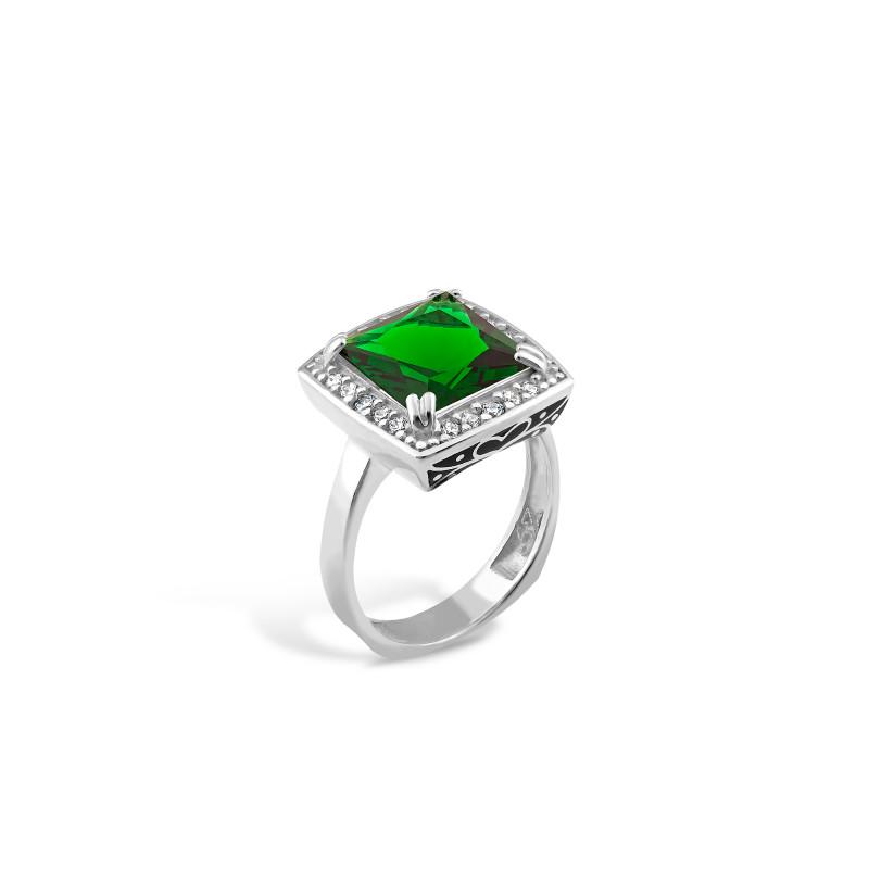 Кольцо с темно-зеленым альпинитом 480
