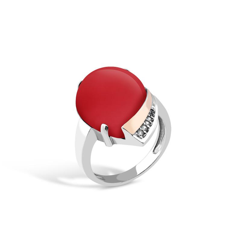 Кольцо с кораллом 526