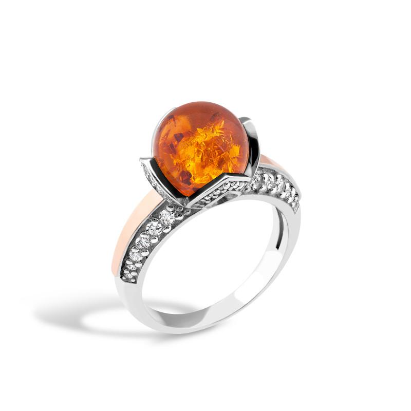 Кольцо с янтарем 525