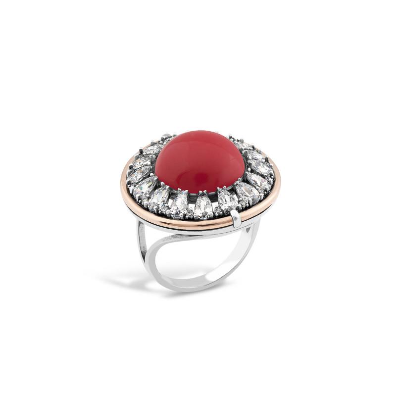 Кольцо с кораллом 625