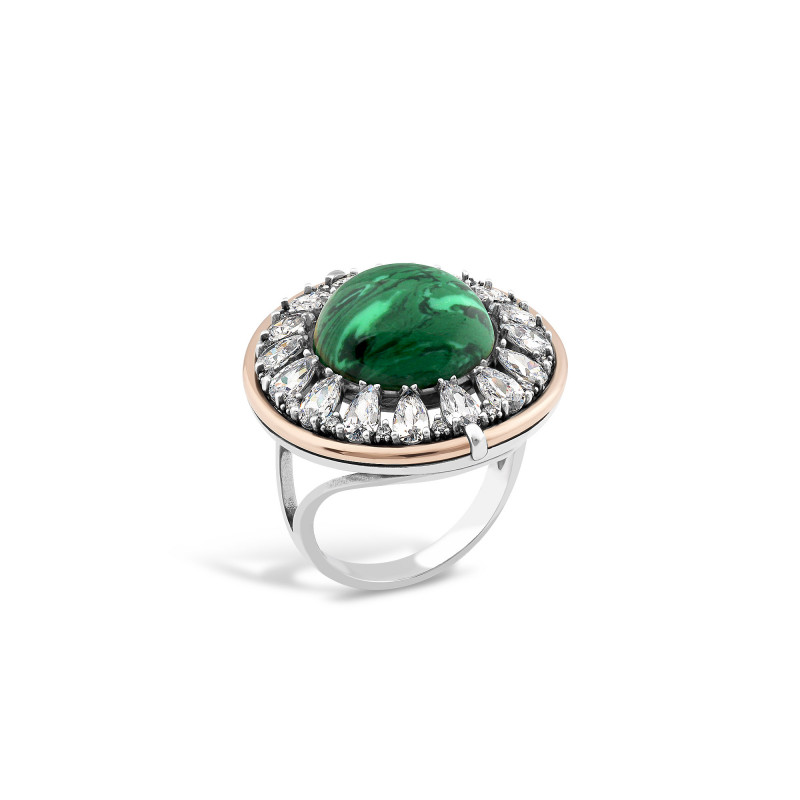 Кольцо с малахитом 625