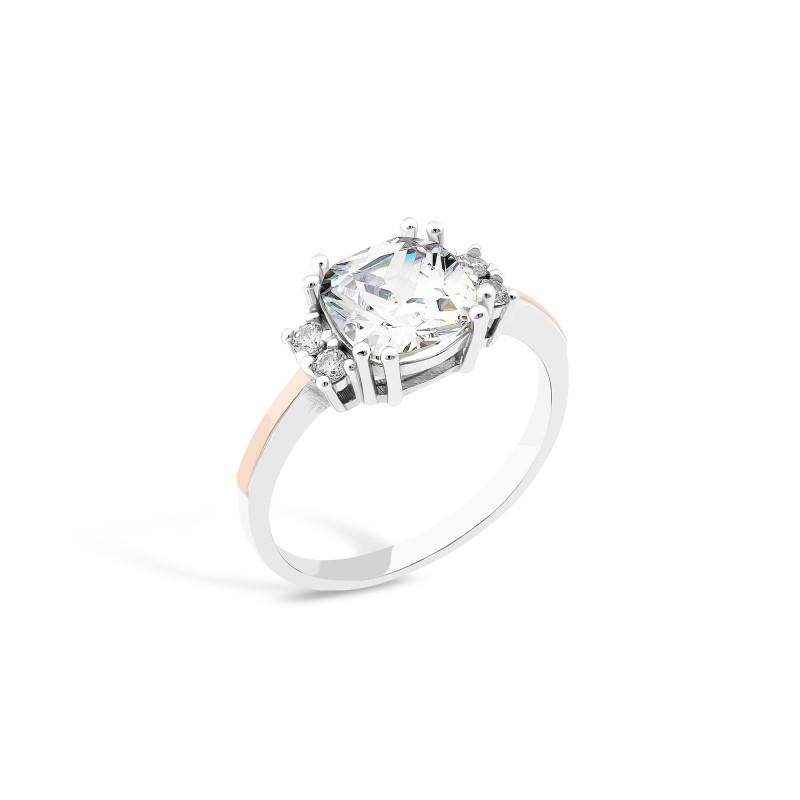 Кольцо с белым фианитом 839