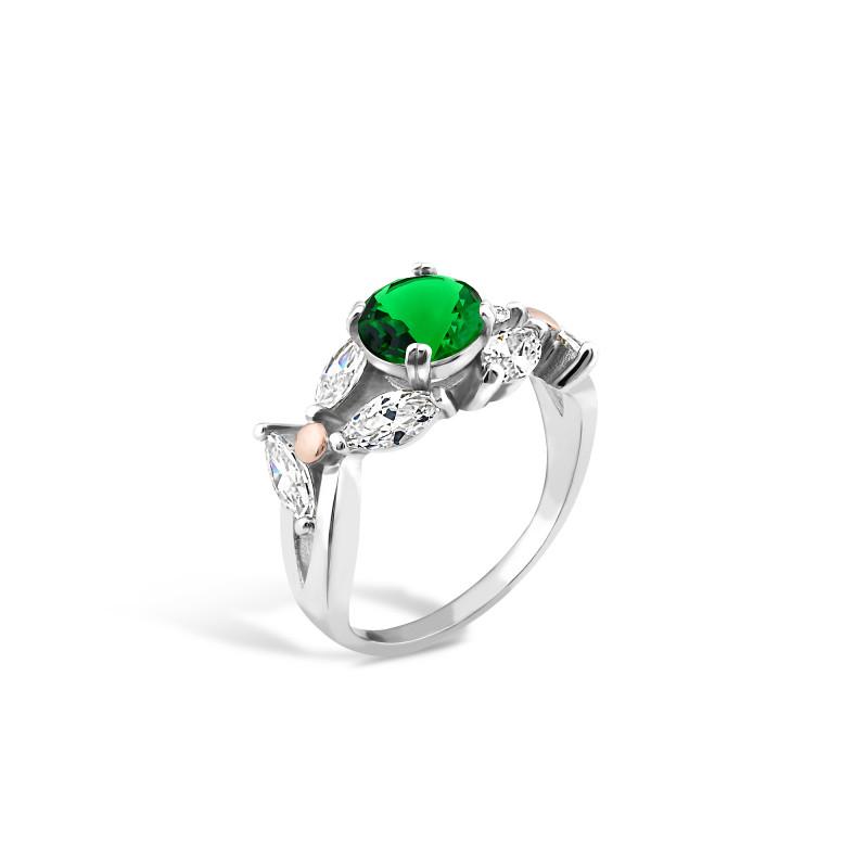 Кольцо с темно-зеленым альпинитом 517