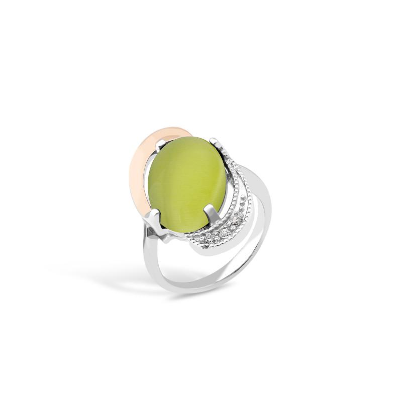 Кольцо с хризопразом 024