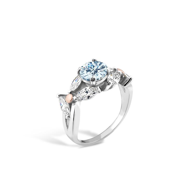 Кольцо с голубым альпинитом 517