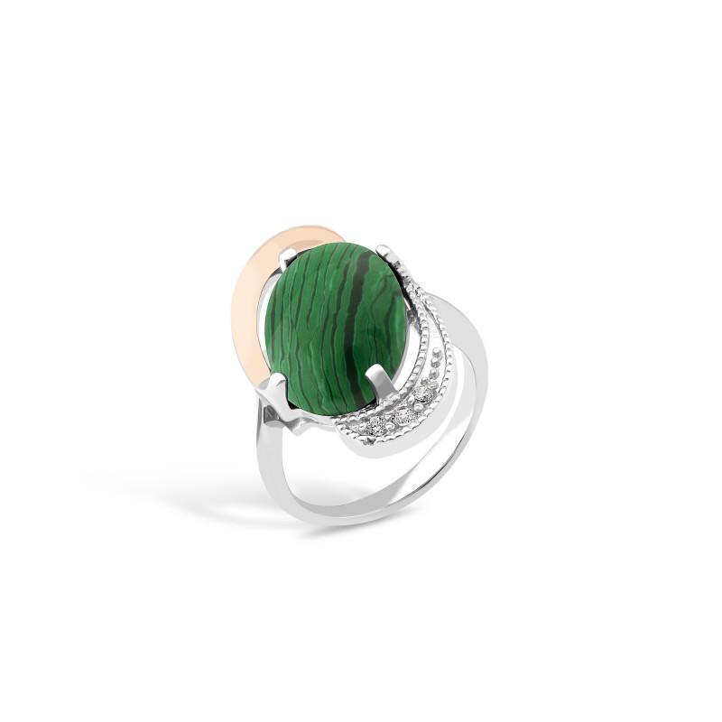 Кольцо с малахитом 024