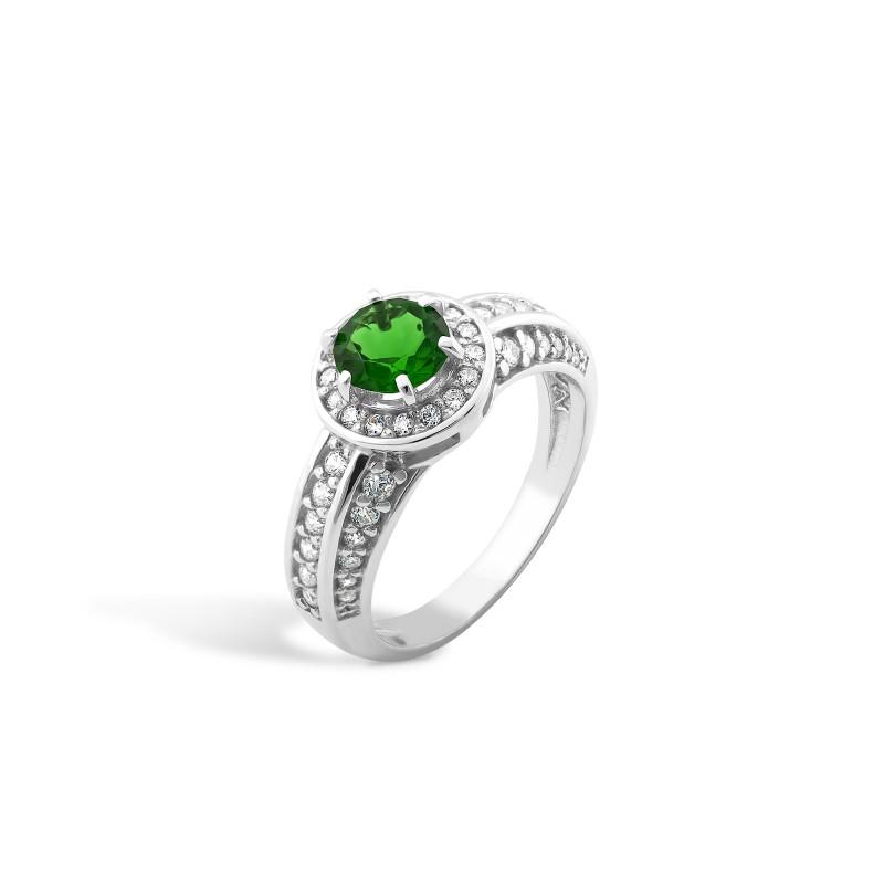 Кольцо с темно-зеленым альпинитом 430