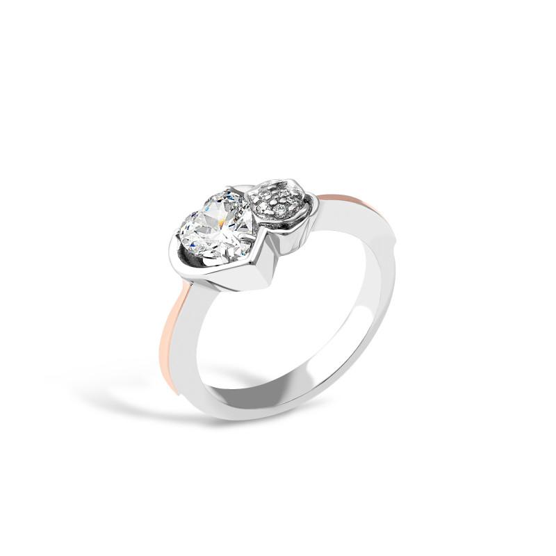 Кольцо с белым фианитом Сердечко 694