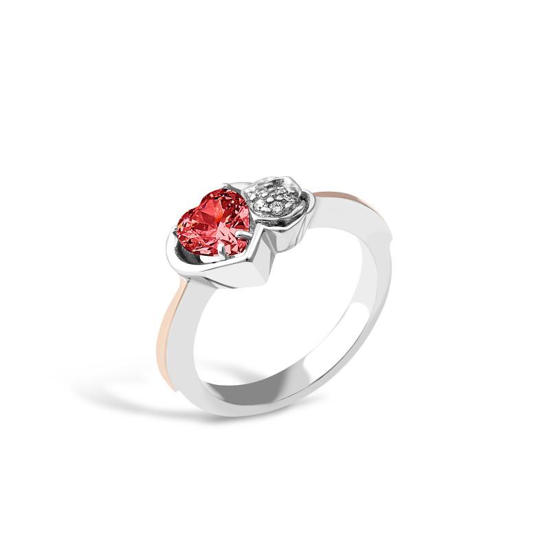 Кольцо с красным фианитом Сердечко 694