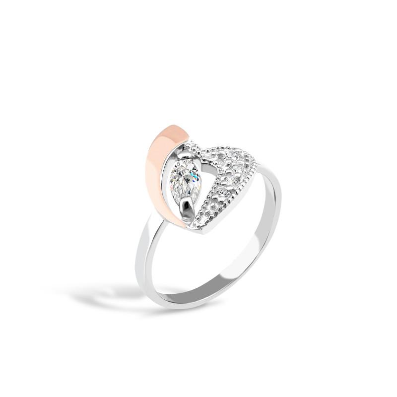 Кольцо с белым фианитом Сердце 058