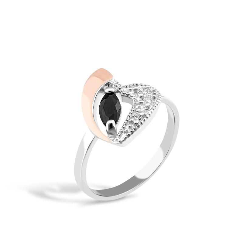Кольцо с черным фианитом Сердце 058