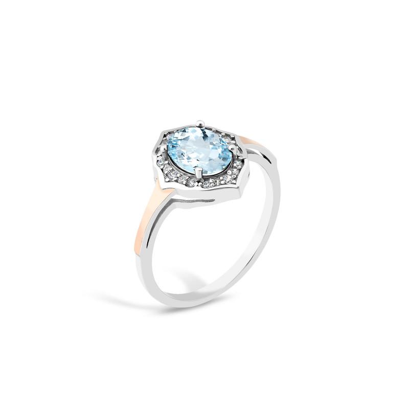 Кольцо с голубым альпинитом 869