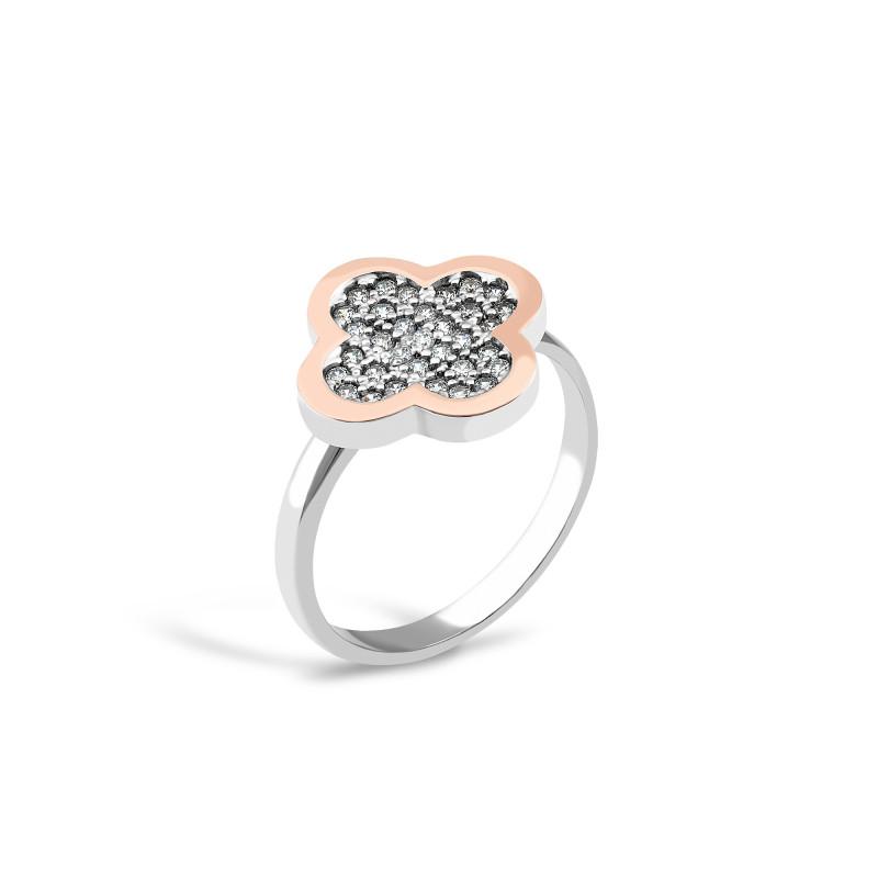 Серебряное кольцо  Клевер 458