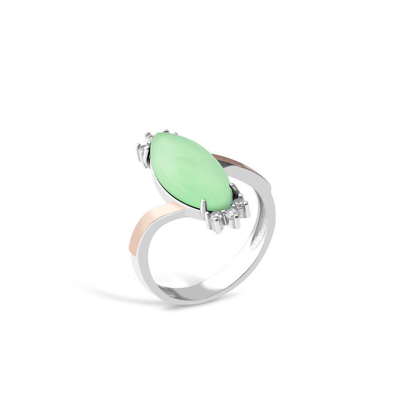Кольцо с хризопразом 629