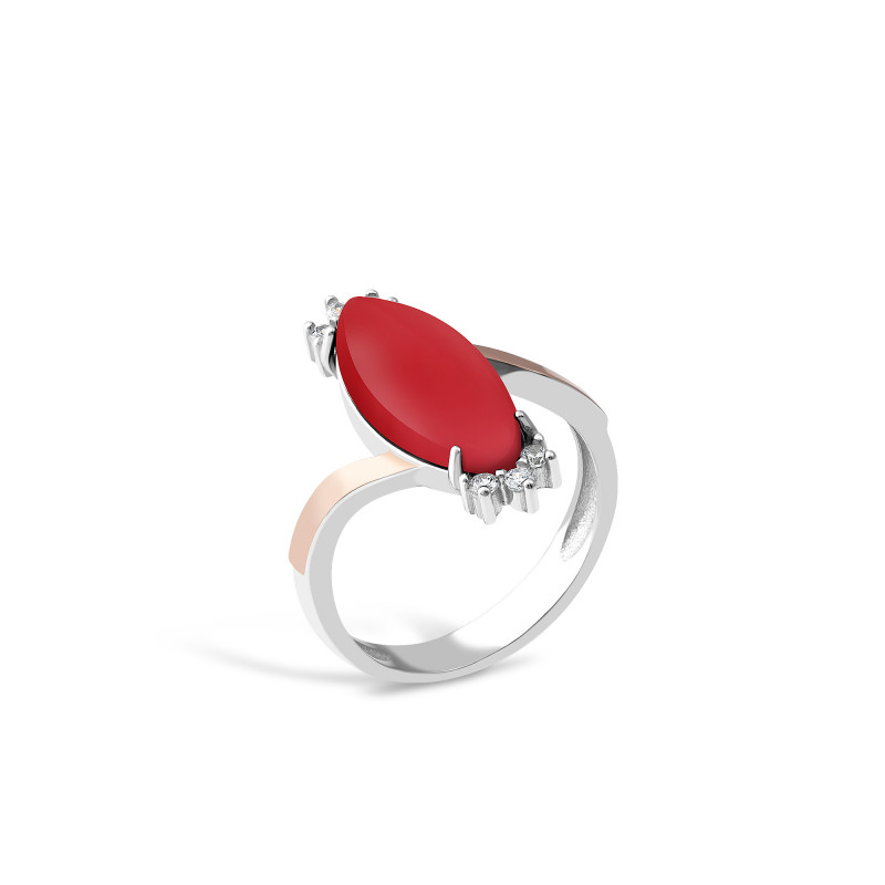 Кольцо с кораллом 629