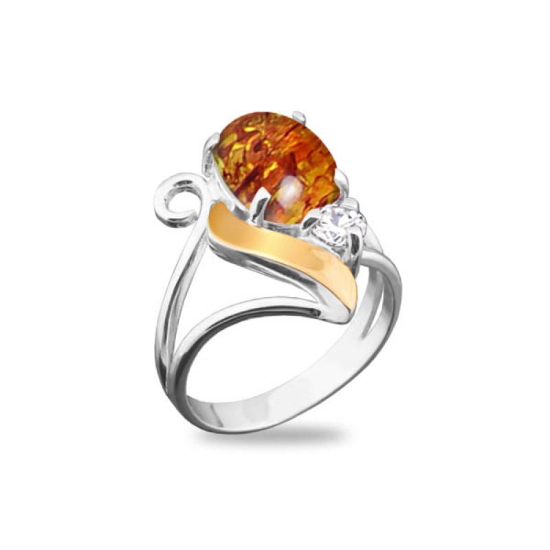 Кольцо с янтарем 092