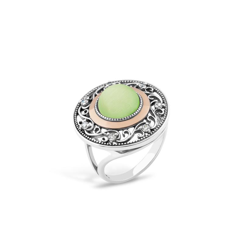 Кольцо с хризопразом 709