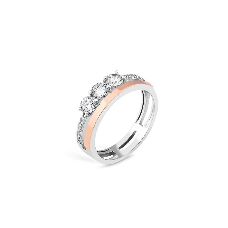 Кольцо с белым фианитом 916