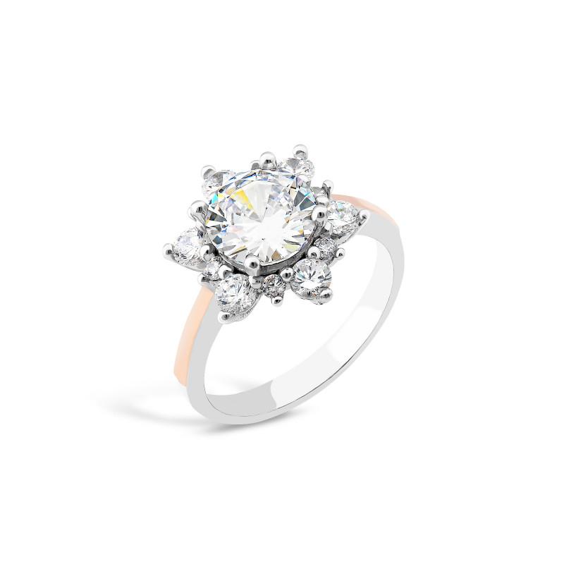 Кольцо с белым фианитом 850