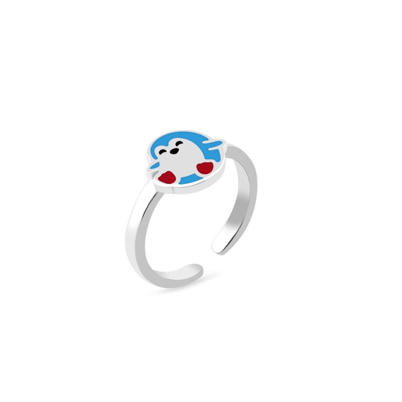 Кольцо с эмалью Пингвин 1135