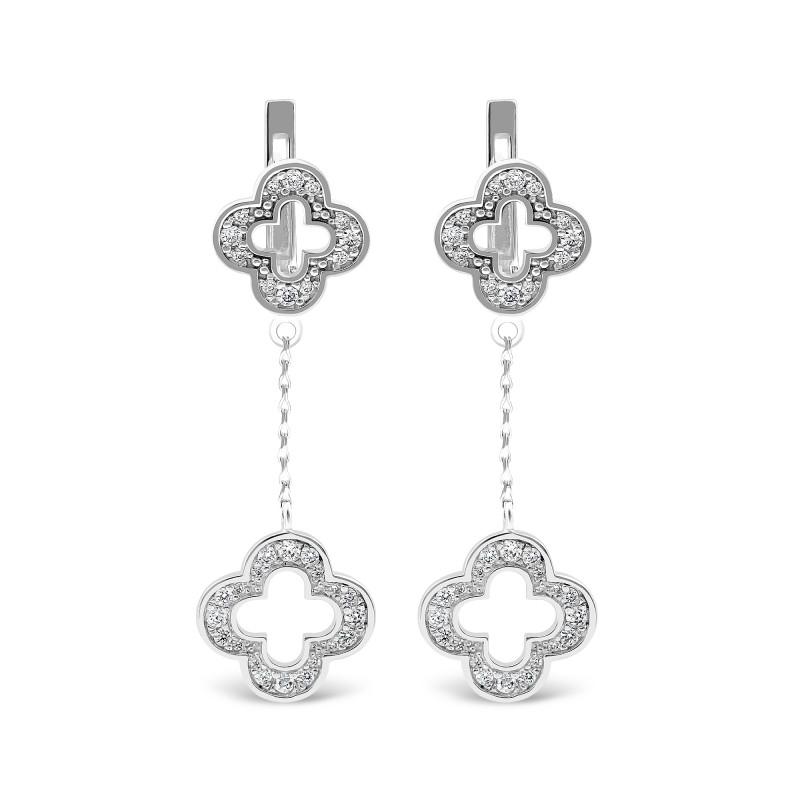 Серебряные серьги Клевер 452
