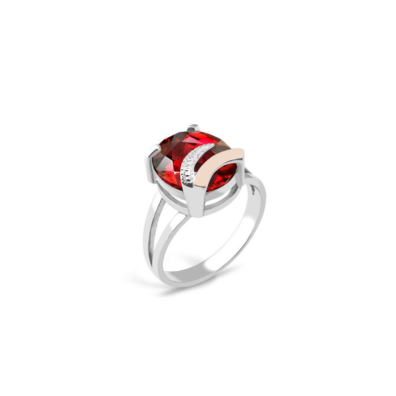 Кольцо с красным фианитом 085