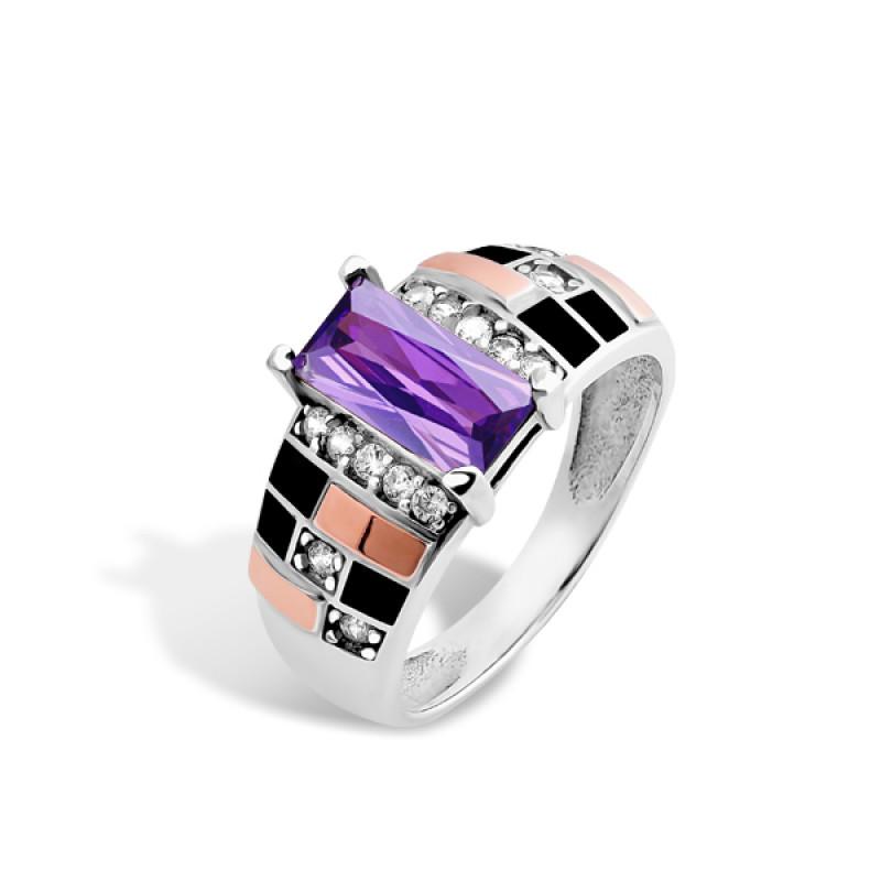 Кольцо с фиолетовым фианитом 406