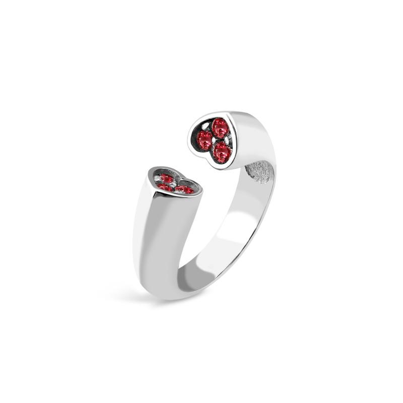 Серебряное кольцо  Сердечка 521