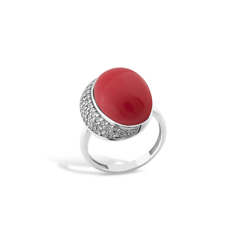 Кольцо с кораллом 438