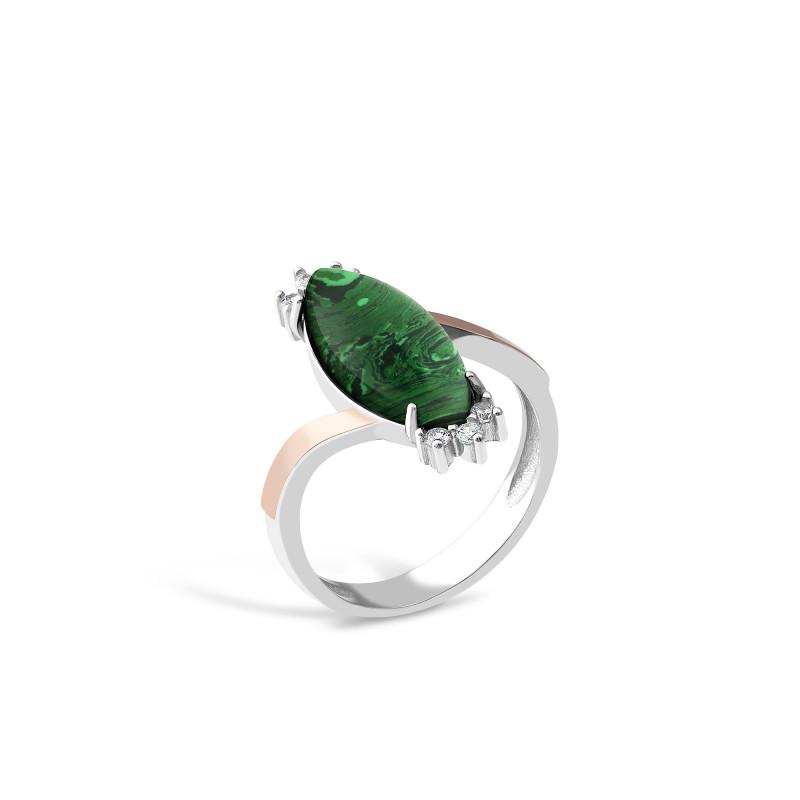 Кольцо с малахитом 629