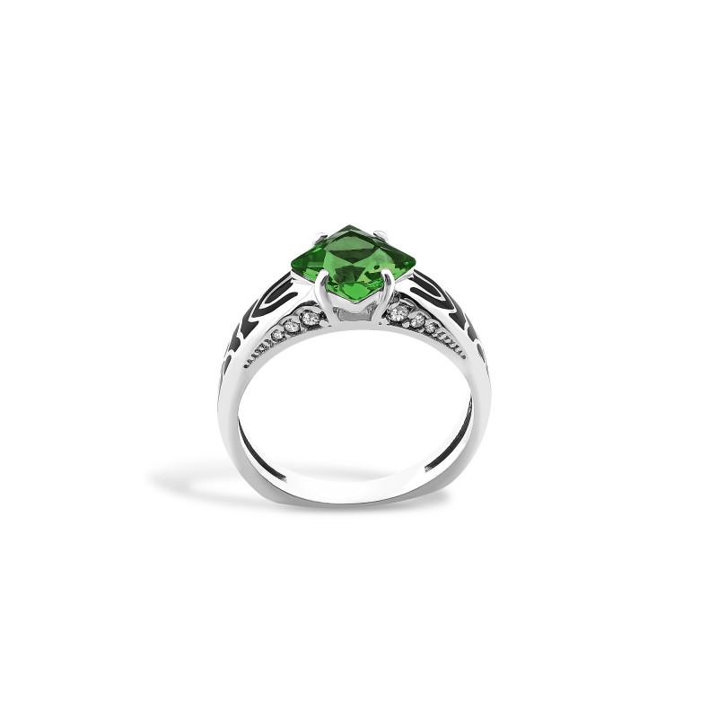 Кольцо с темно-зеленым альпинитом 427