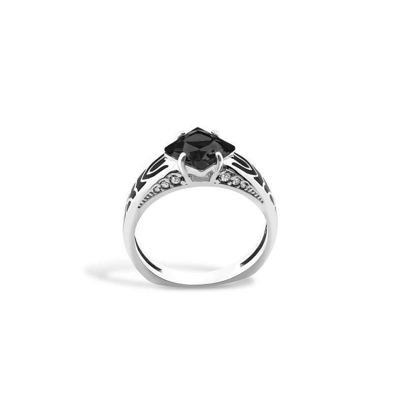 Кольцо с черным фианитом 427