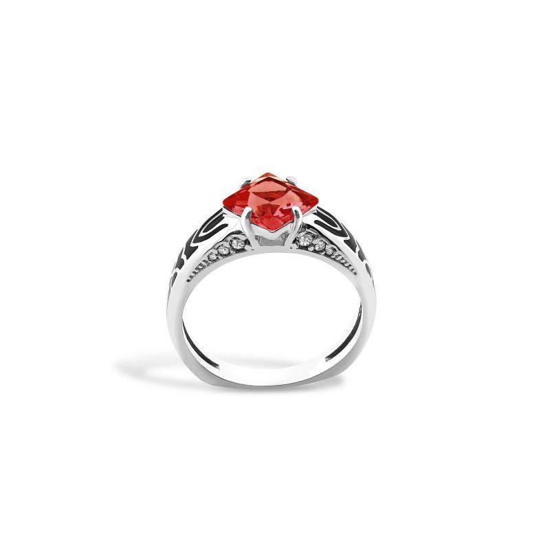 Кольцо с красным фианитом 427