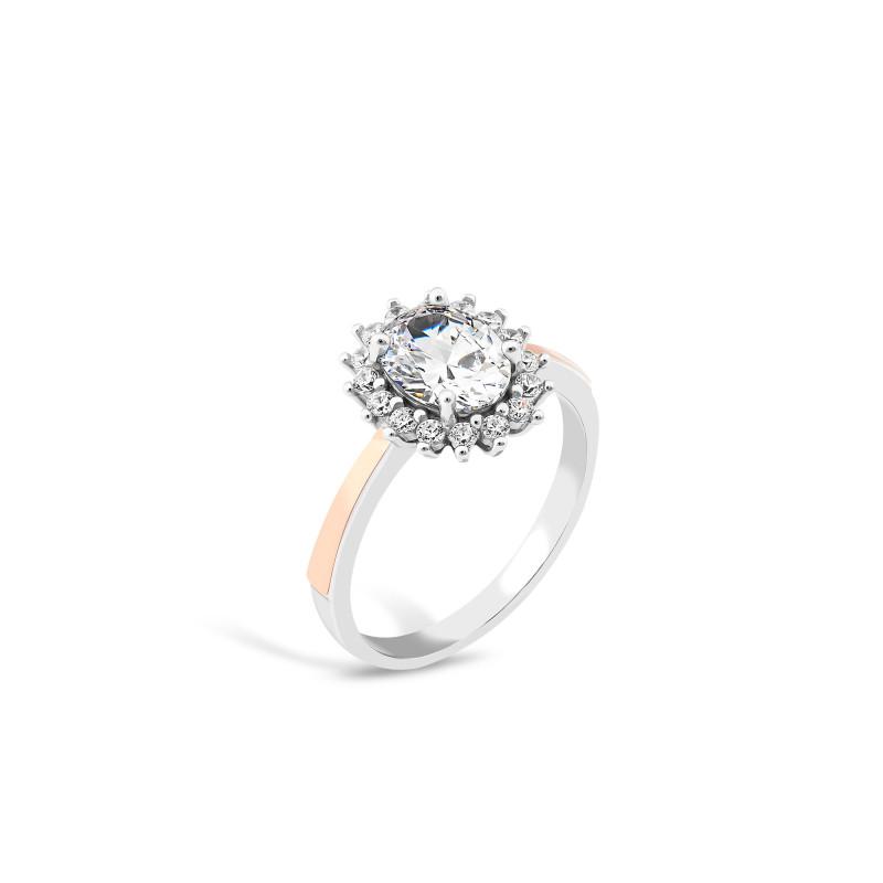 Кольцо с белым фианитом 847